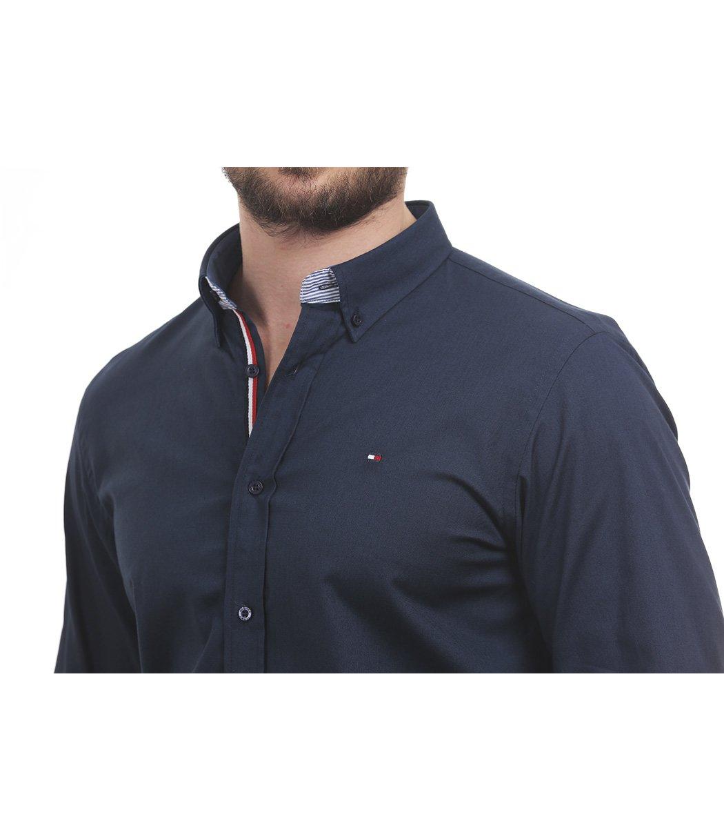 Темно-синяя рубашка Tommy Hilfiger classic - Темно-синий - Вид 4
