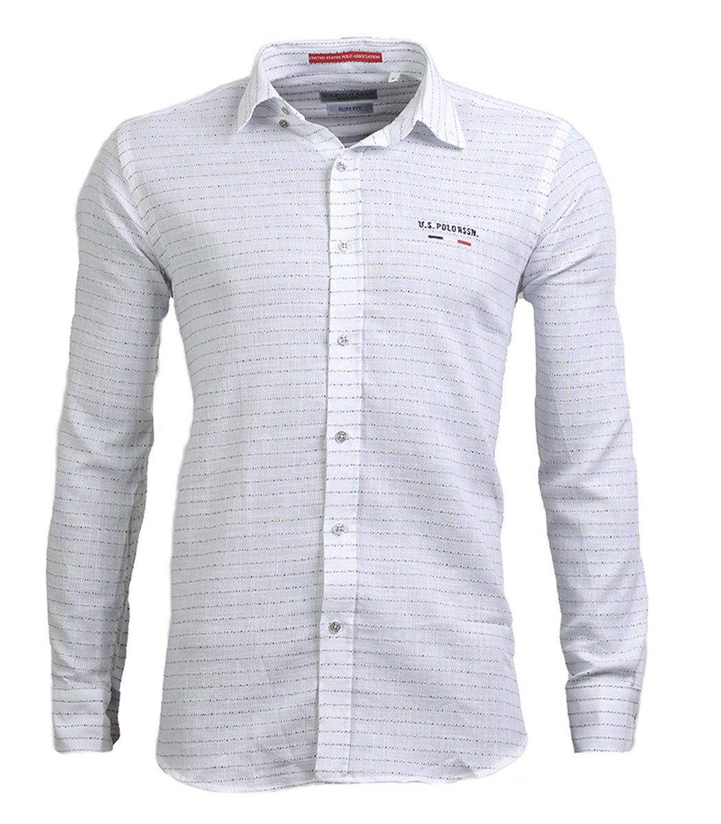 Белая рубашка U.S. Polo ASSN в полоску