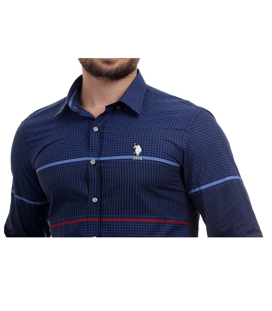 Темно-синяя рубашка U.S. Polo ASSN в клетку