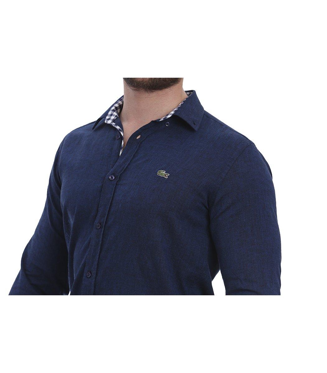 Темно-синяя рубашка Lacoste classic RL1
