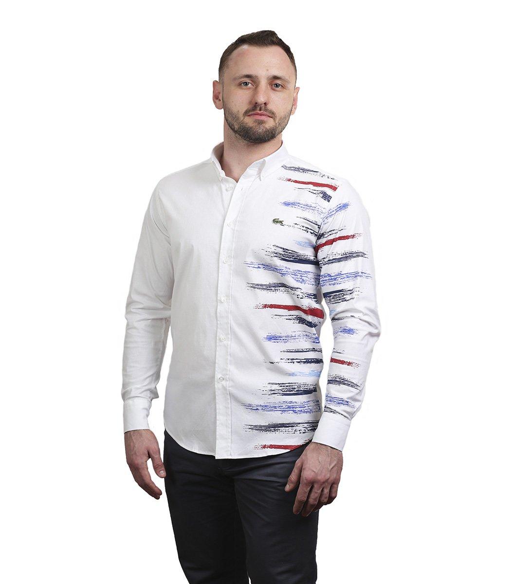 Белая рубашка Lacoste с принтом - Белый - Вид 2
