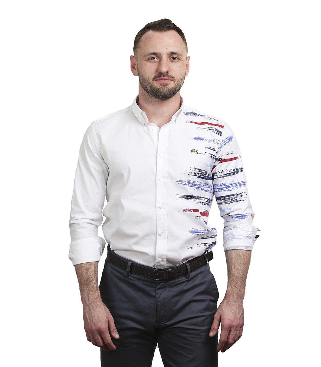 Белая рубашка Lacoste с принтом - Белый - Вид 3