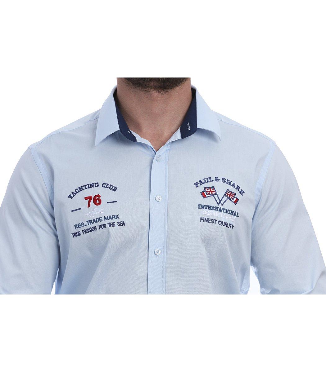 Голубая рубашка Paul&Shark 76 RP1 - Голубой - Вид 4
