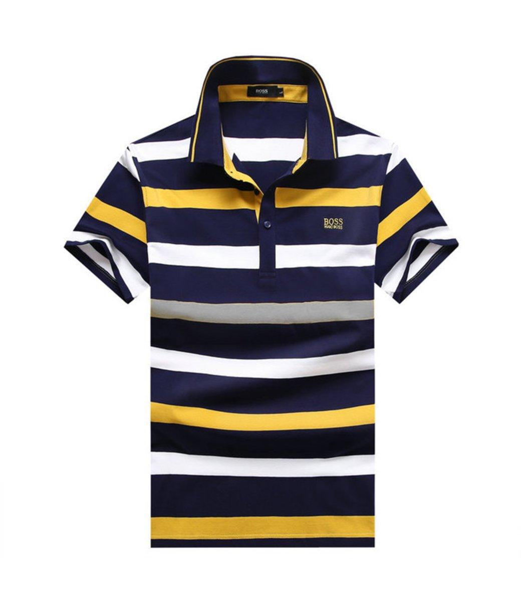 Мужская желтая футболка поло Hugo Boss в полоску - желтый - Вид 1