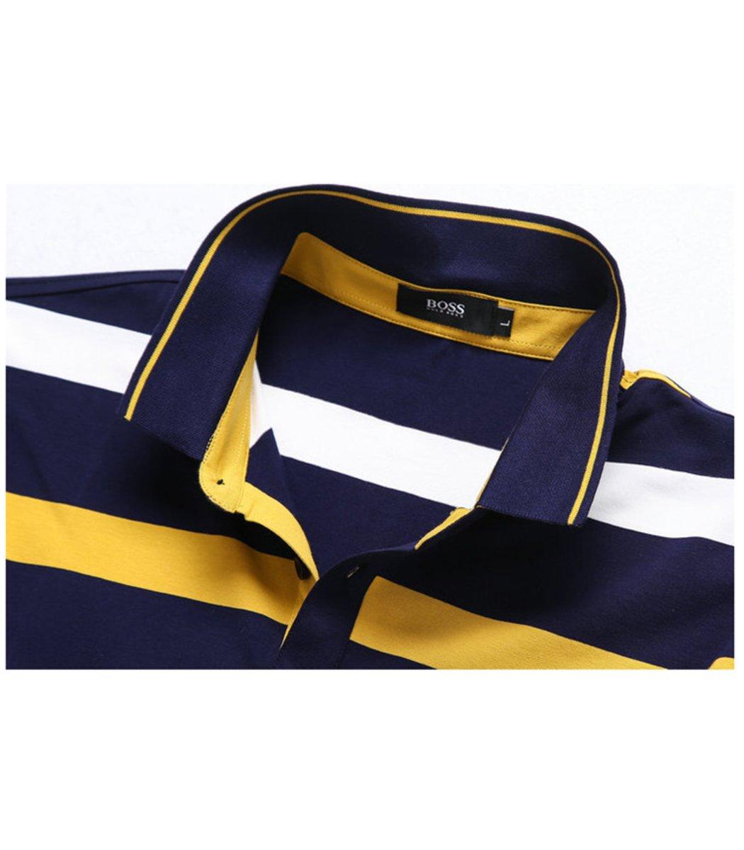 Мужская желтая футболка поло Hugo Boss в полоску - желтый - Вид 3