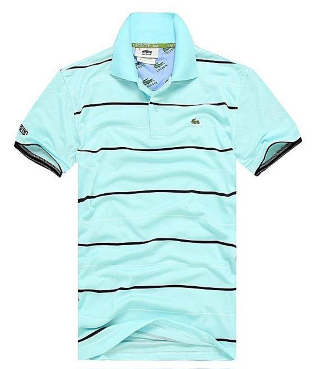 Мужская голубая футболка поло Lacoste в полоску