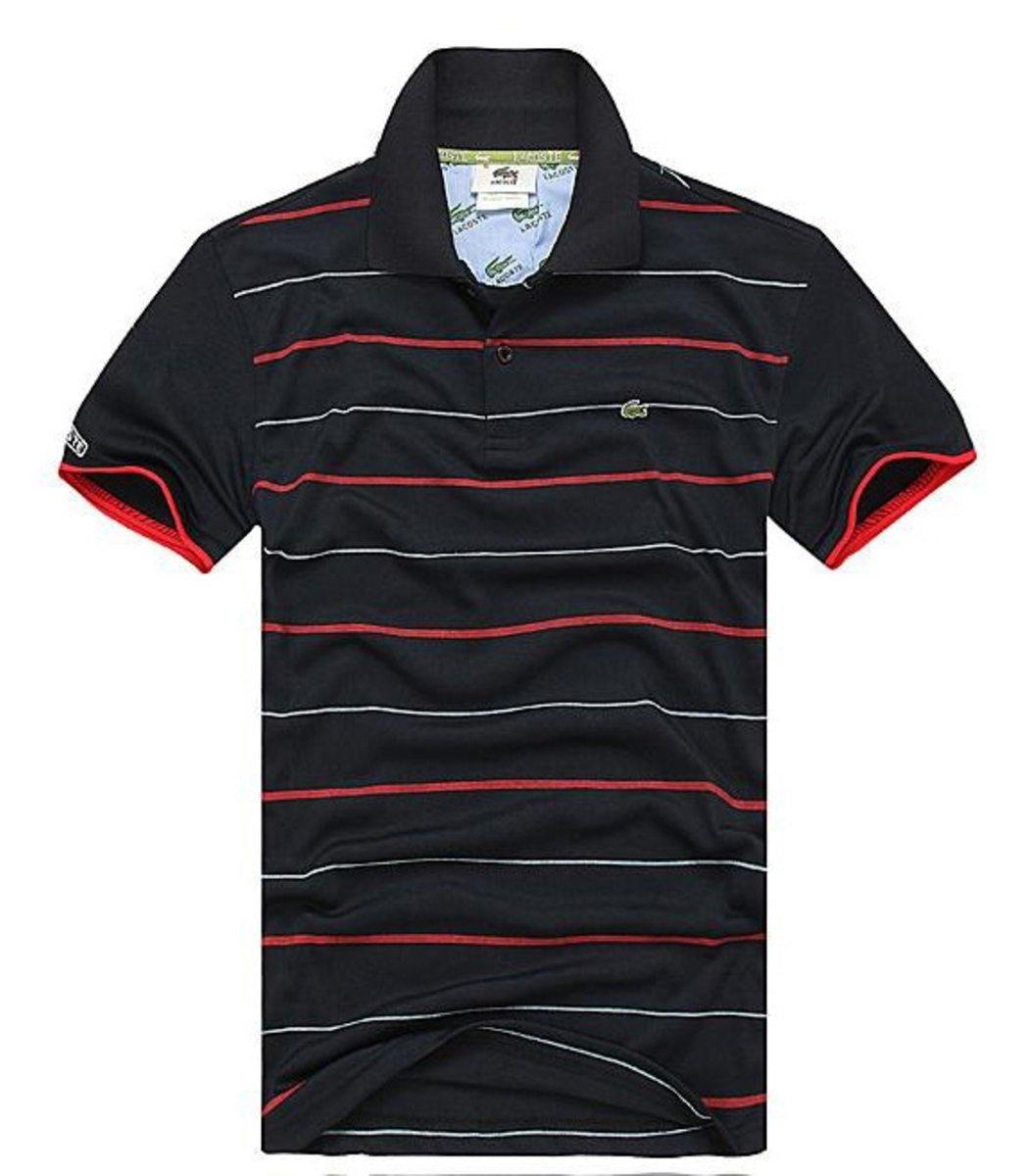 Мужская черная футболка поло Lacoste в полоску