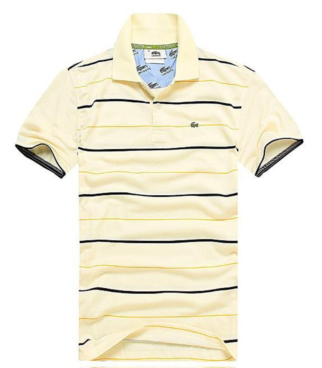 Мужская бежевая футболка поло Lacoste в полоску