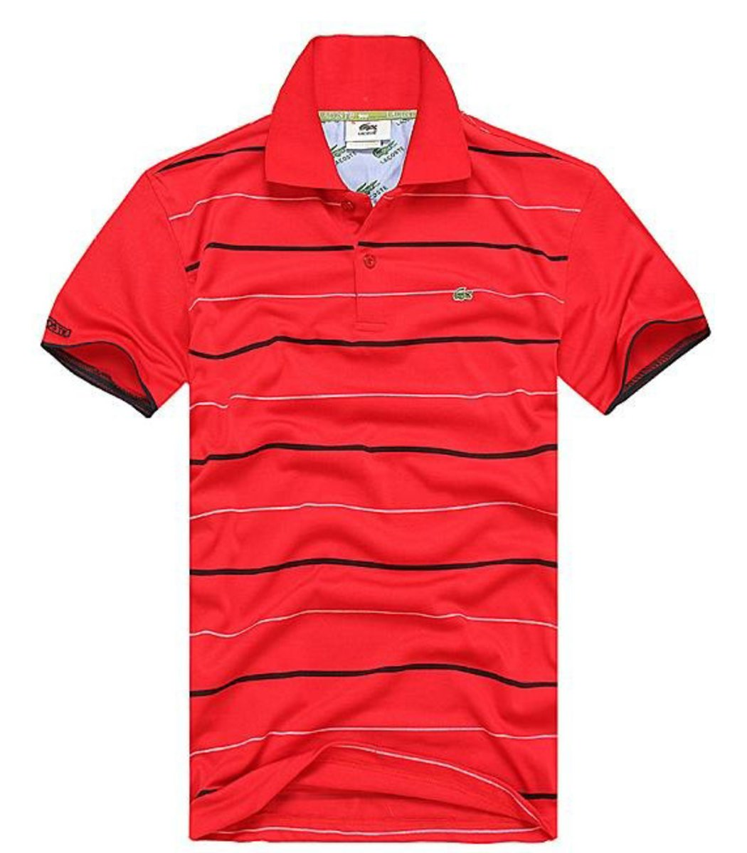Мужская красная футболка поло Lacoste в полоску