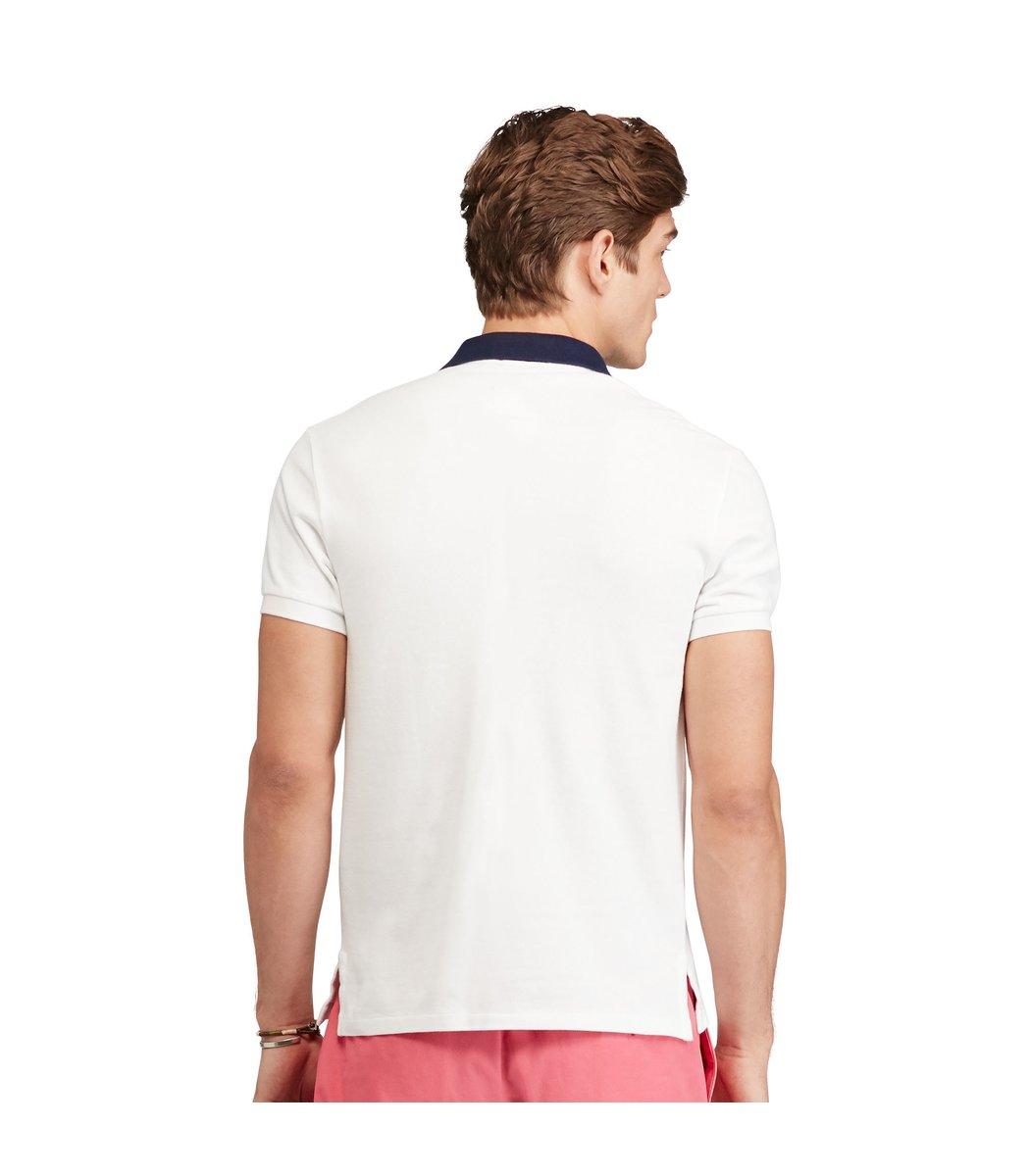 Мужская белая футболка поло Ralph Lauren R6 - Белый - Вид 3