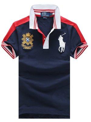 Темно-синие поло с  красными плечами Ralph Lauren RL8 - Темно-синий - Вид 1