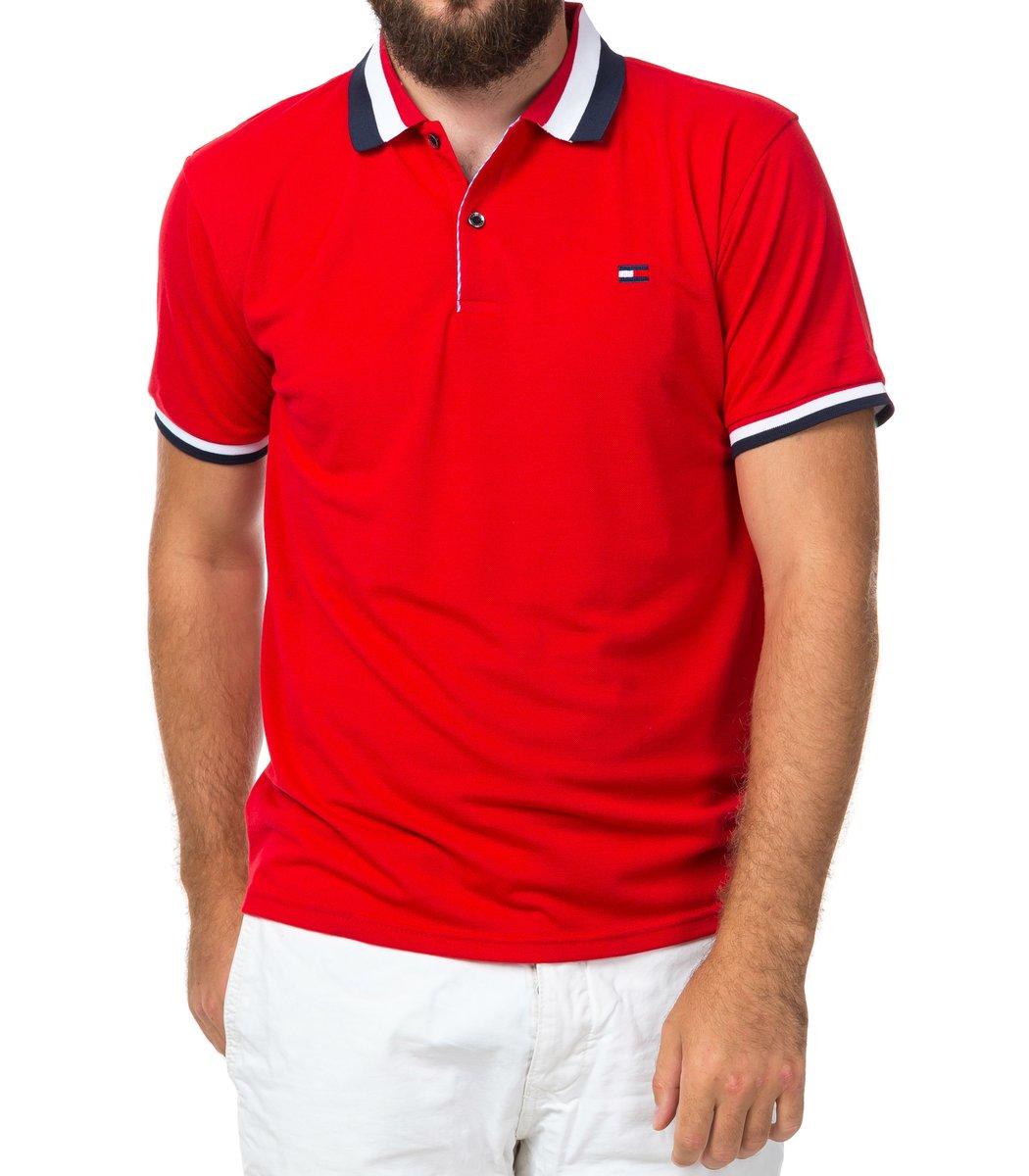 Мужская красная футболка поло Tommy Hilfiger - красный - Вид 2