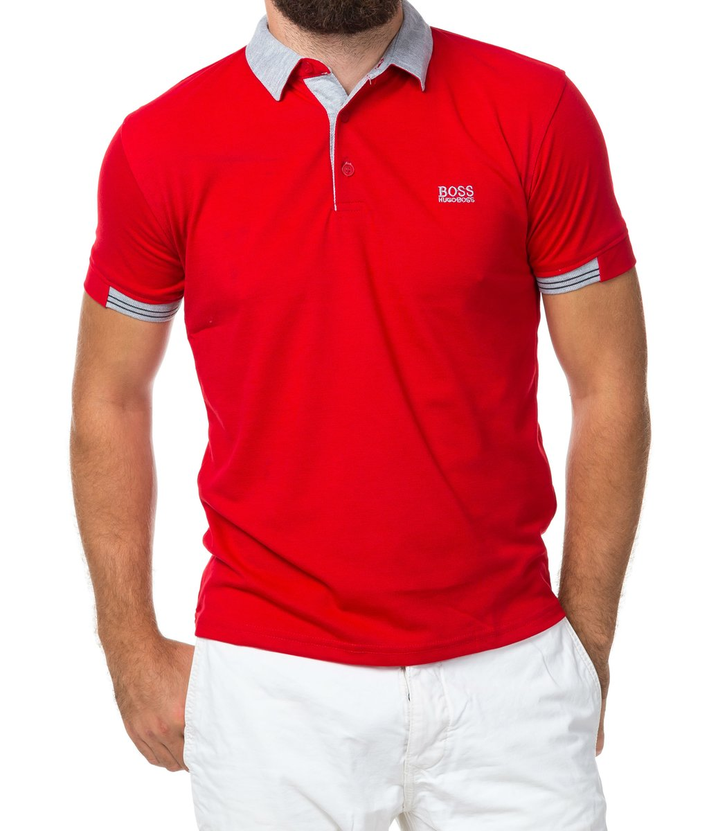 Мужская красная футболка поло Hugo Boss