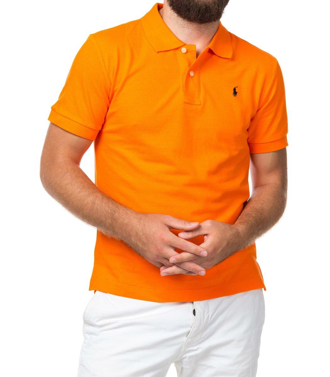Мужская оранжевая футболка поло Ralph Lauren R1