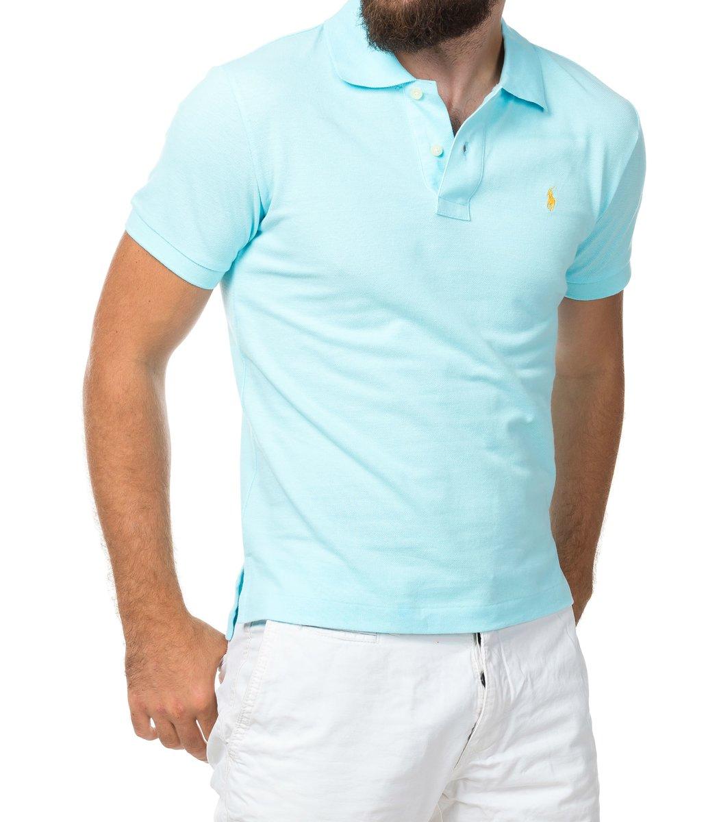 Мужская светло-голубая футболка поло Ralph Lauren R1