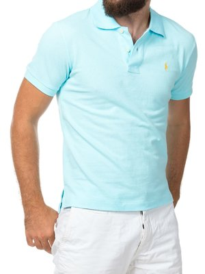 Мужская светло-голубая футболка поло Ralph Lauren R1 - светло-голубой - Вид 2