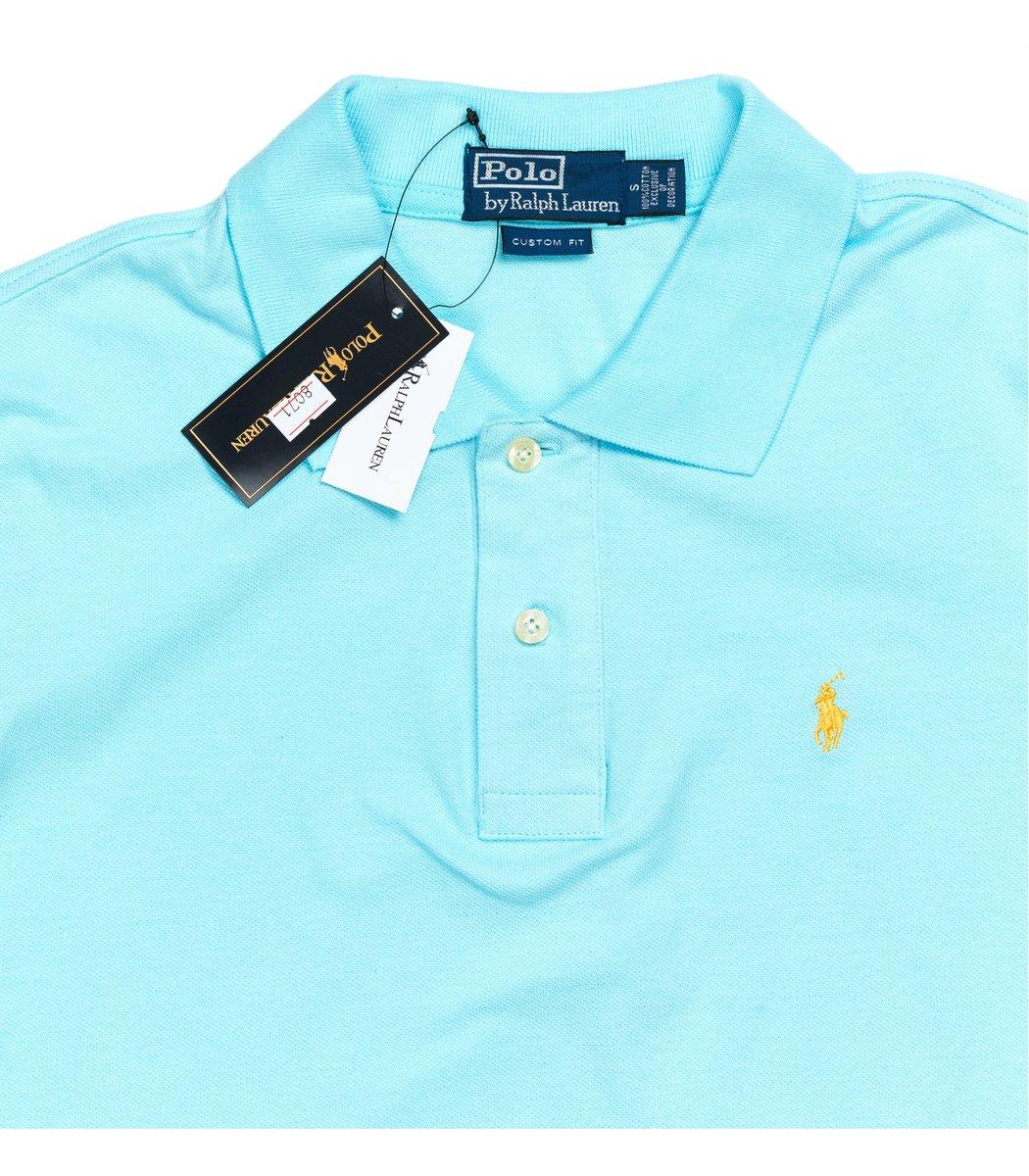 Мужская светло-голубая футболка поло Ralph Lauren R1 - светло-голубой - Вид 4