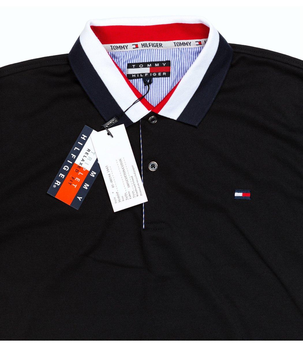 Мужская черная футболка поло Tommy Hilfiger - черный - Вид 4