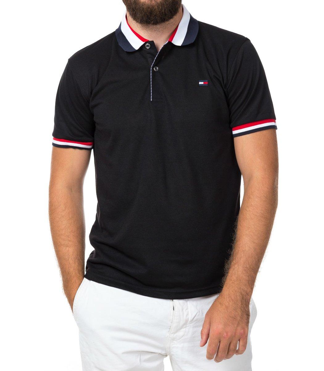 Мужская черная футболка поло Tommy Hilfiger - черный - Вид 2