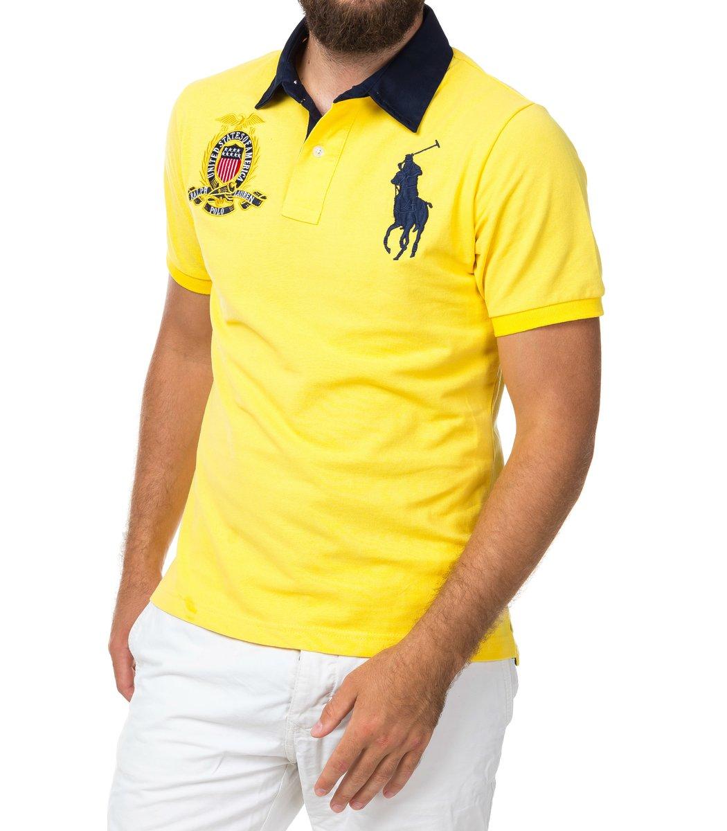Мужская желтая футболка поло Ralph Lauren R5  - желтый - Вид 2