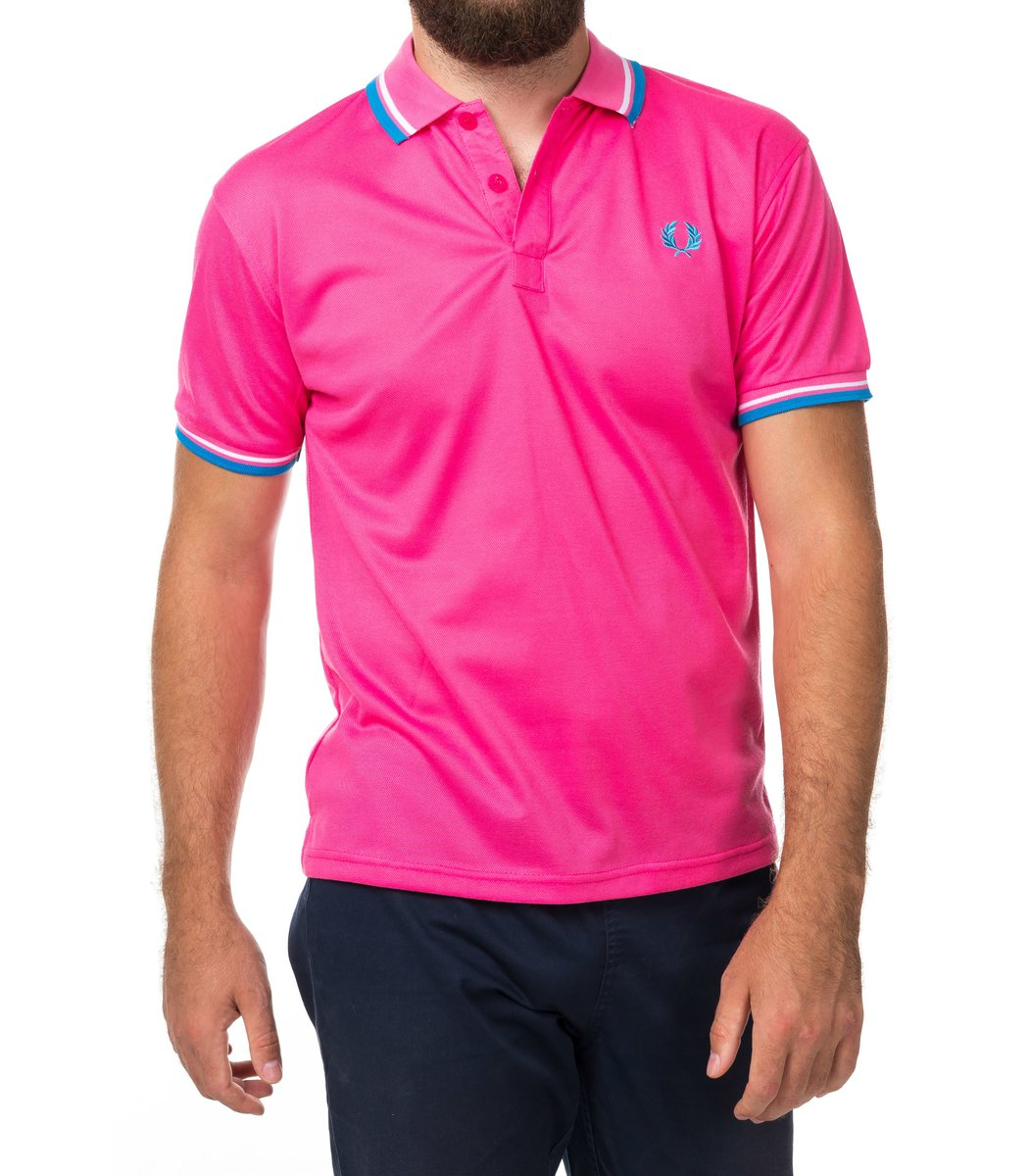 Мужская темно-розовая футболка поло Fred Perry - темно-розовый - Вид 2
