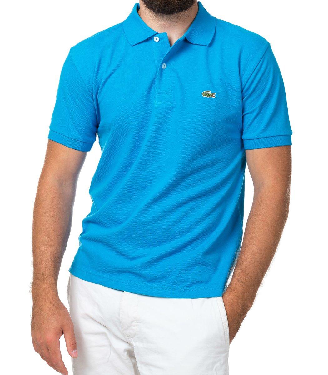 Мужская темно-голубая футболка поло Lacoste