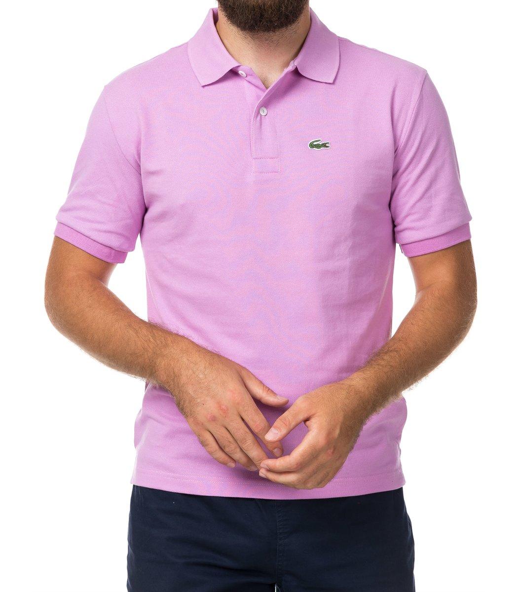 Мужская светло-сиреневая футболка поло Lacoste