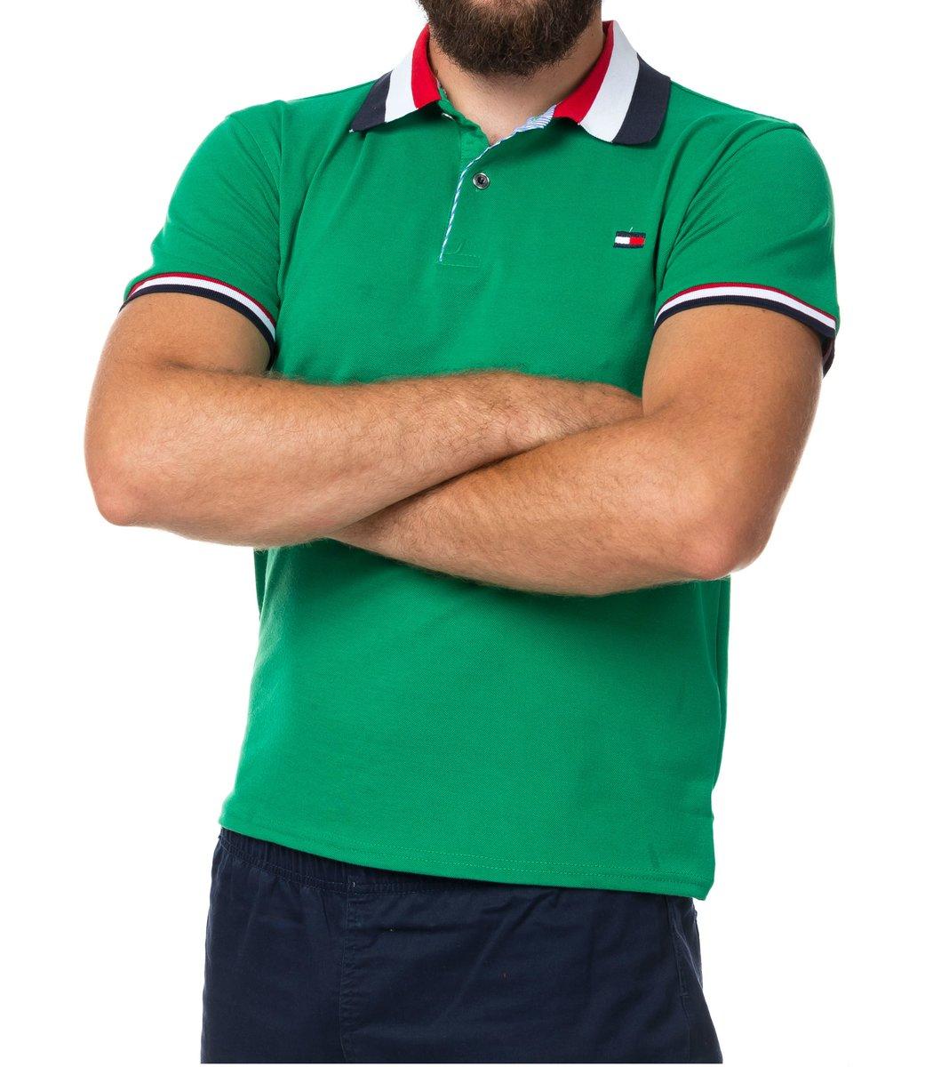 Мужская зеленая футболка поло Tommy Hilfige - зеленый - Вид 2