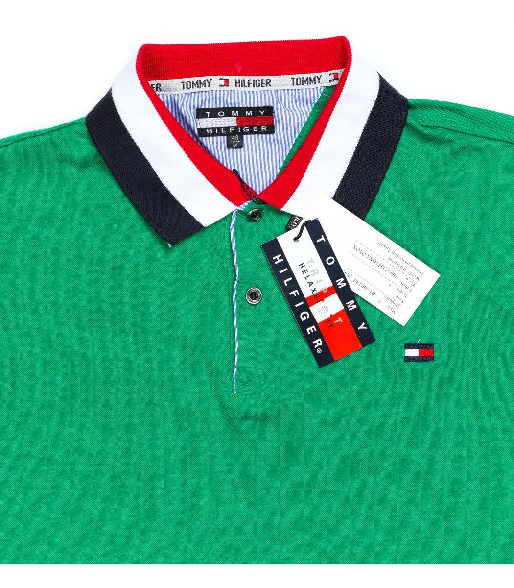 Мужская зеленая футболка поло Tommy Hilfige - зеленый - Вид 4