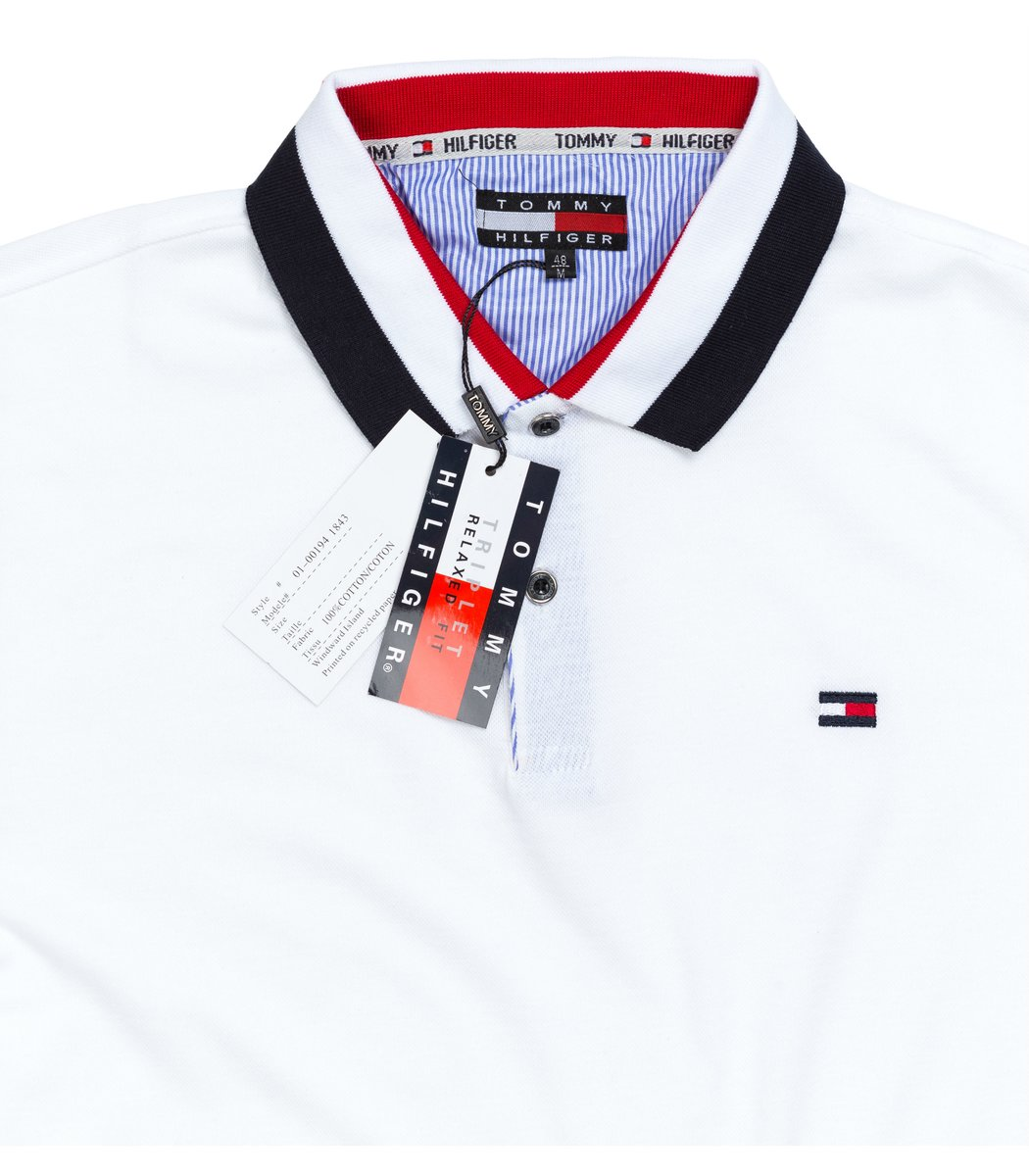 Мужская белая футболка поло Tommy Hilfiger - белый - Вид 4