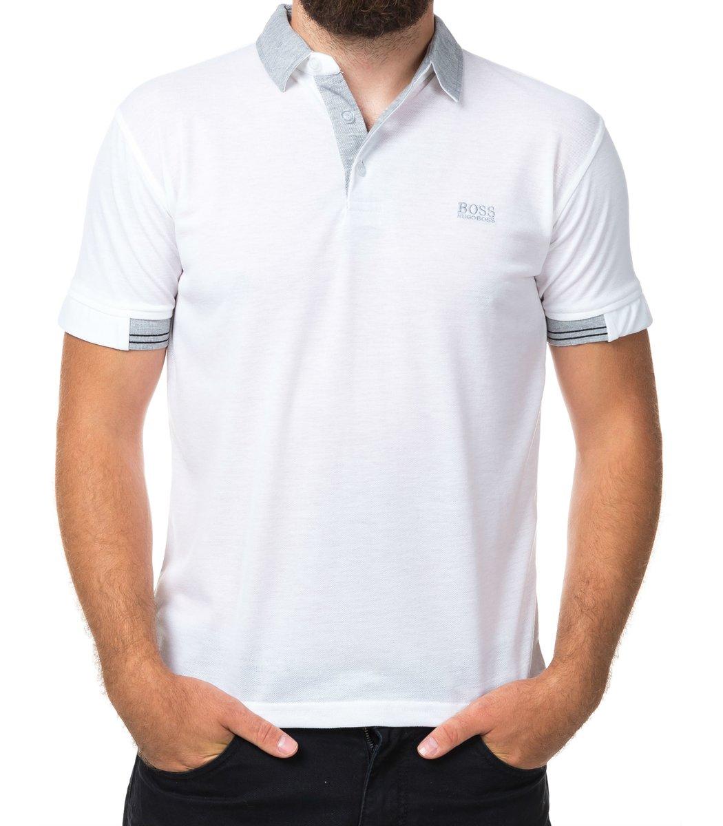 Мужская белая футболка поло Hugo Boss