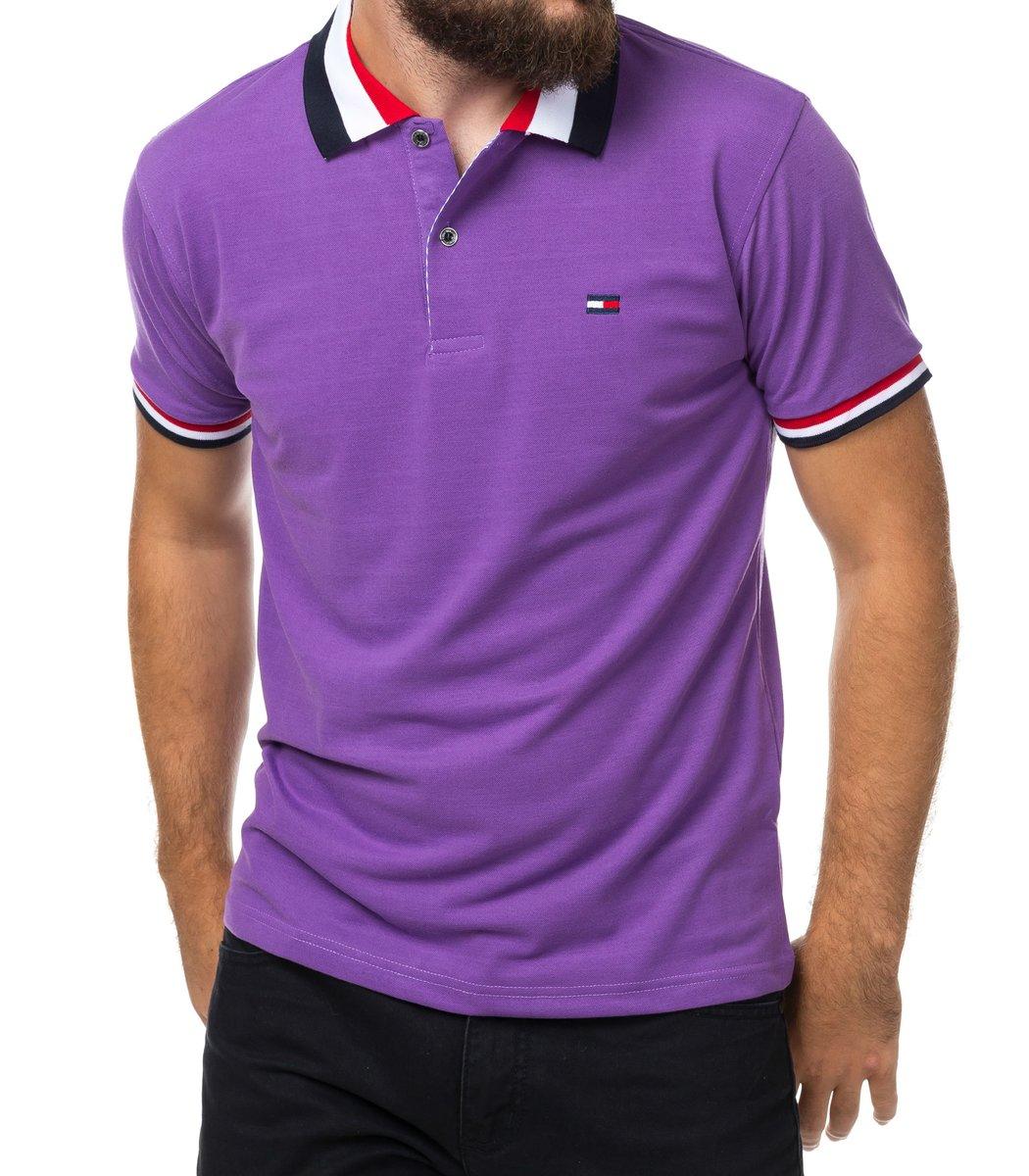 Мужская фиолетовая футболка поло Tommy Hilfiger - фиолетовый - Вид 2