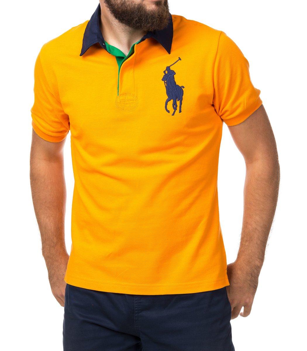a29c7674a9f56 Мужская оранжевая футболка поло Ralph Lauren R2 - купить мужскую ...