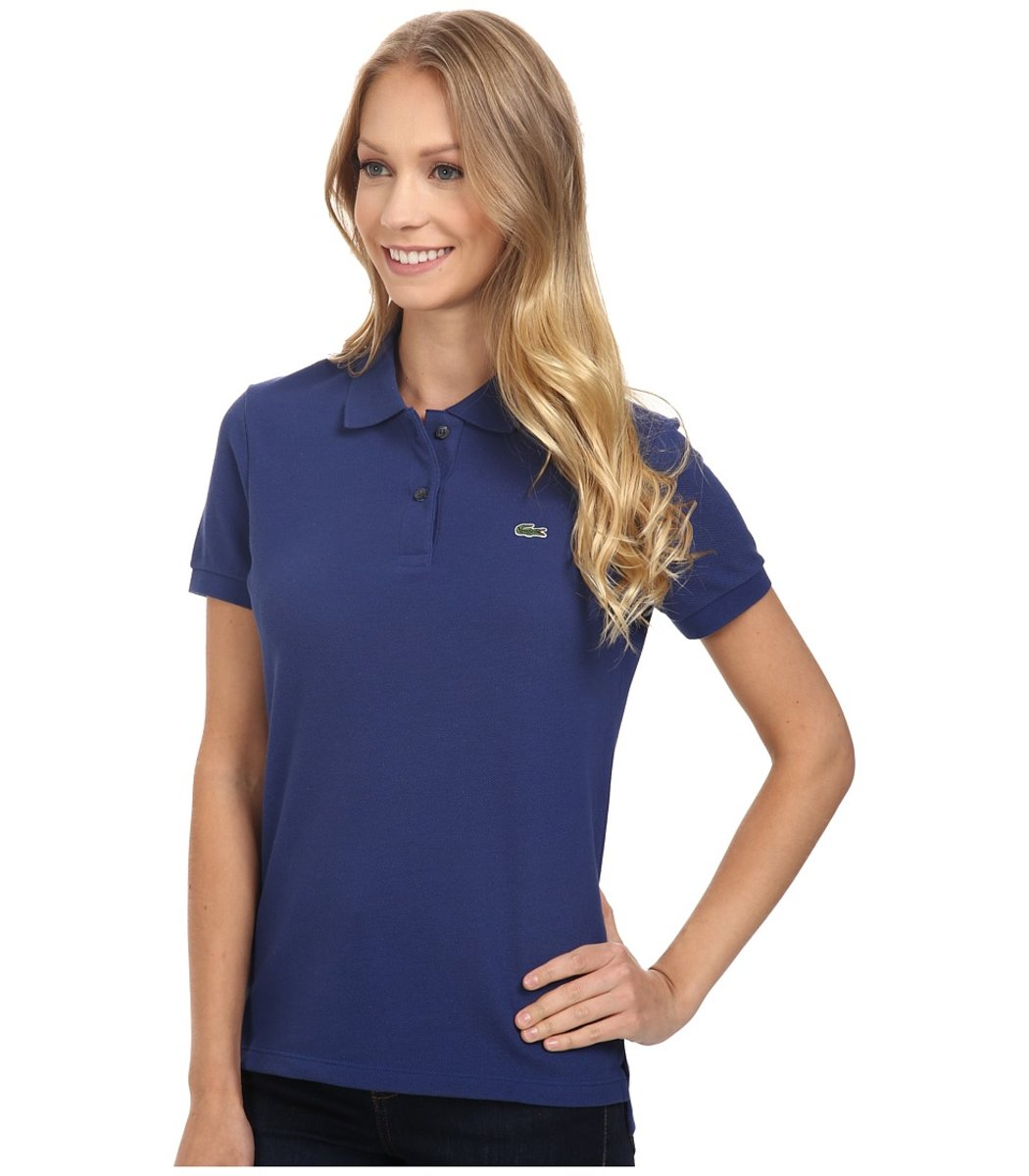 Женская темно-синяя футболка поло Lacoste