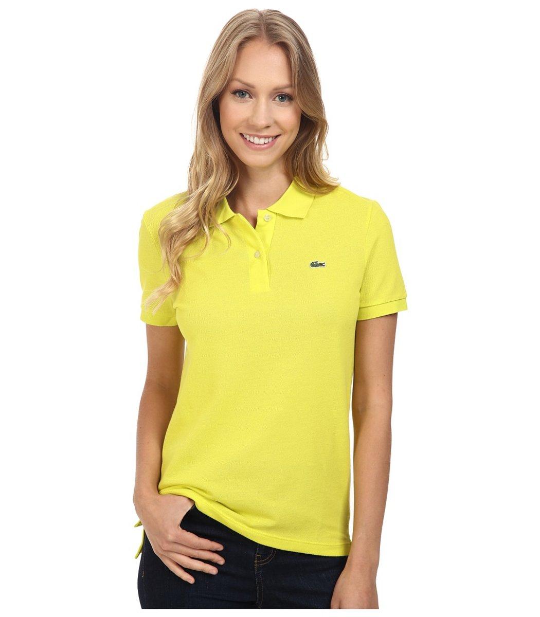 Женская желтая футболка поло Lacoste