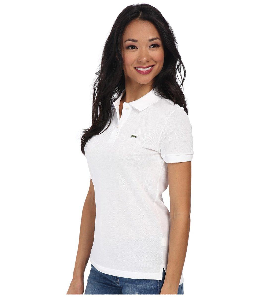 Женская белая футболка поло Lacoste