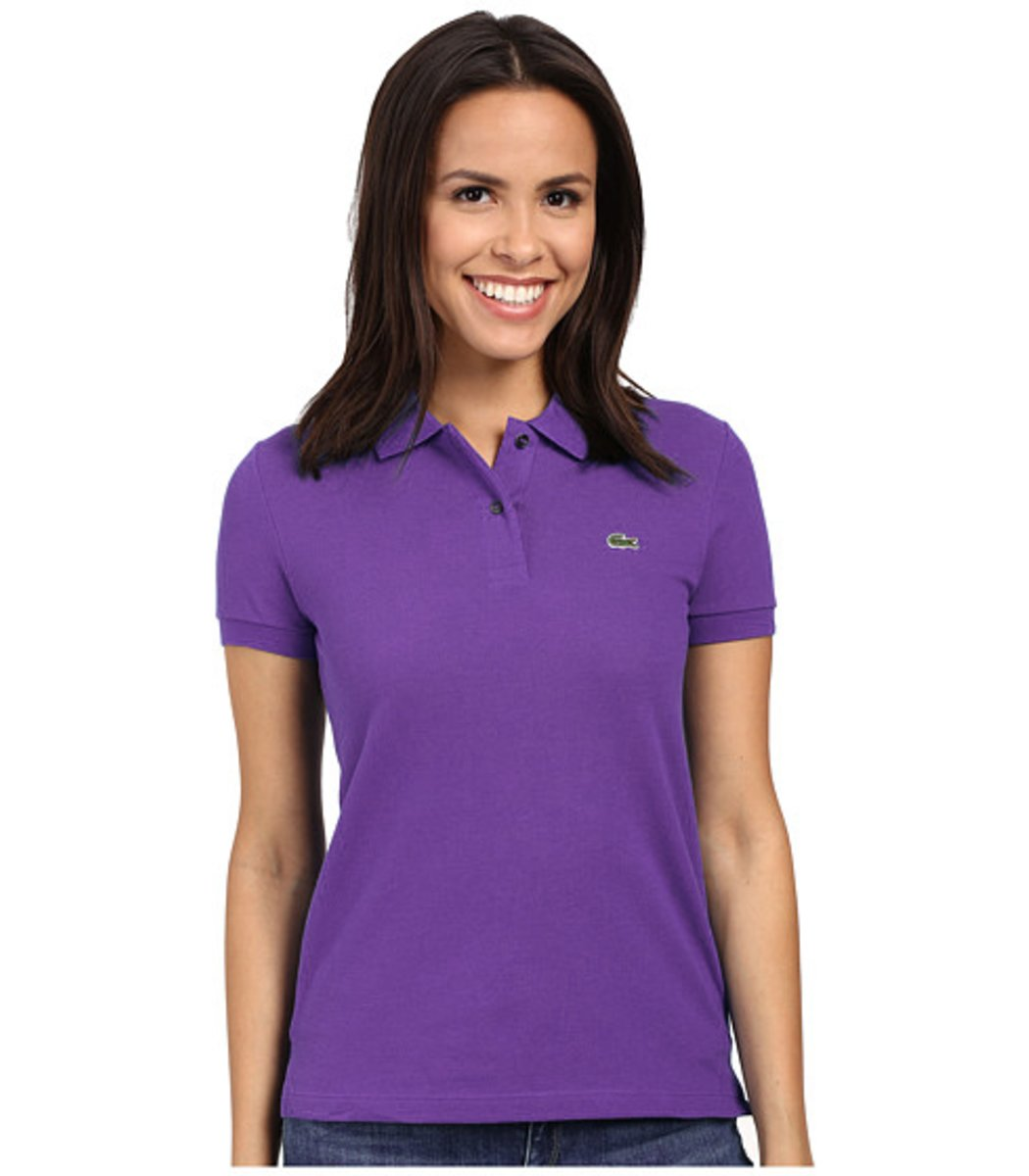 Женская фиолетовая футболка поло Lacoste