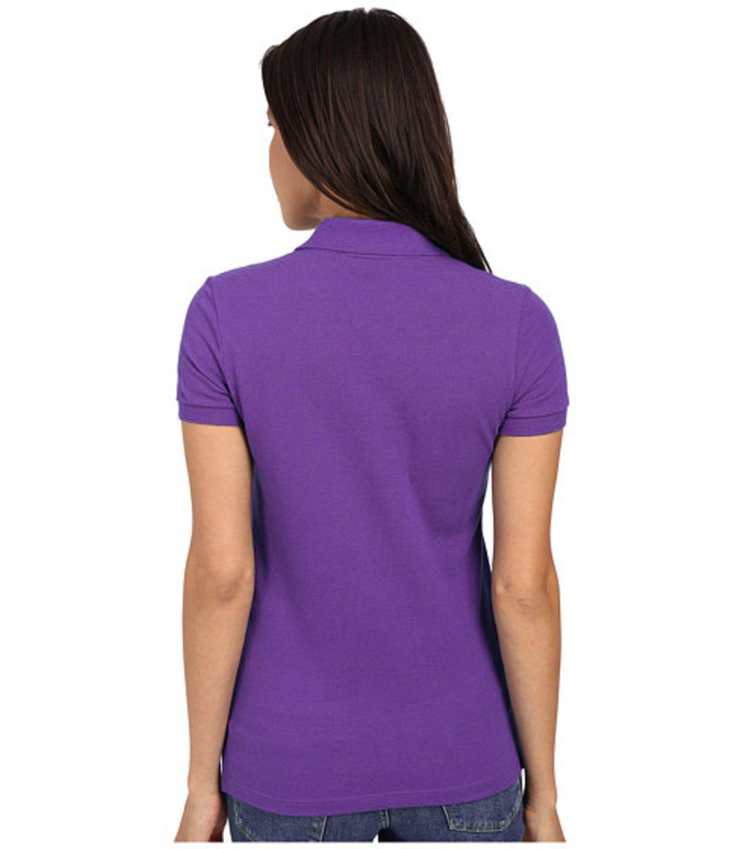 Женская фиолетовая футболка поло Lacoste - фиолетовый - Вид 2