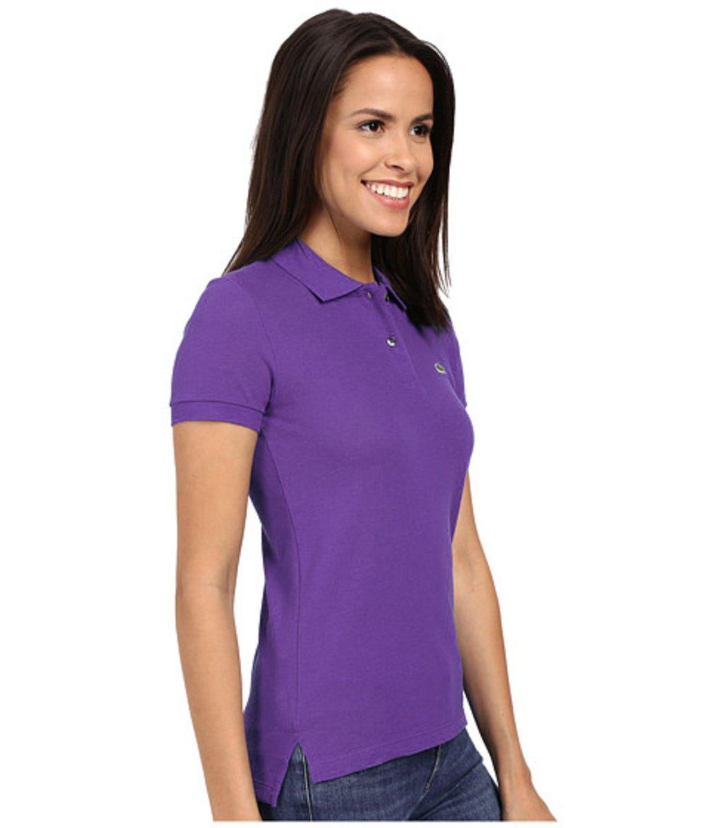 Женская фиолетовая футболка поло Lacoste - фиолетовый - Вид 4