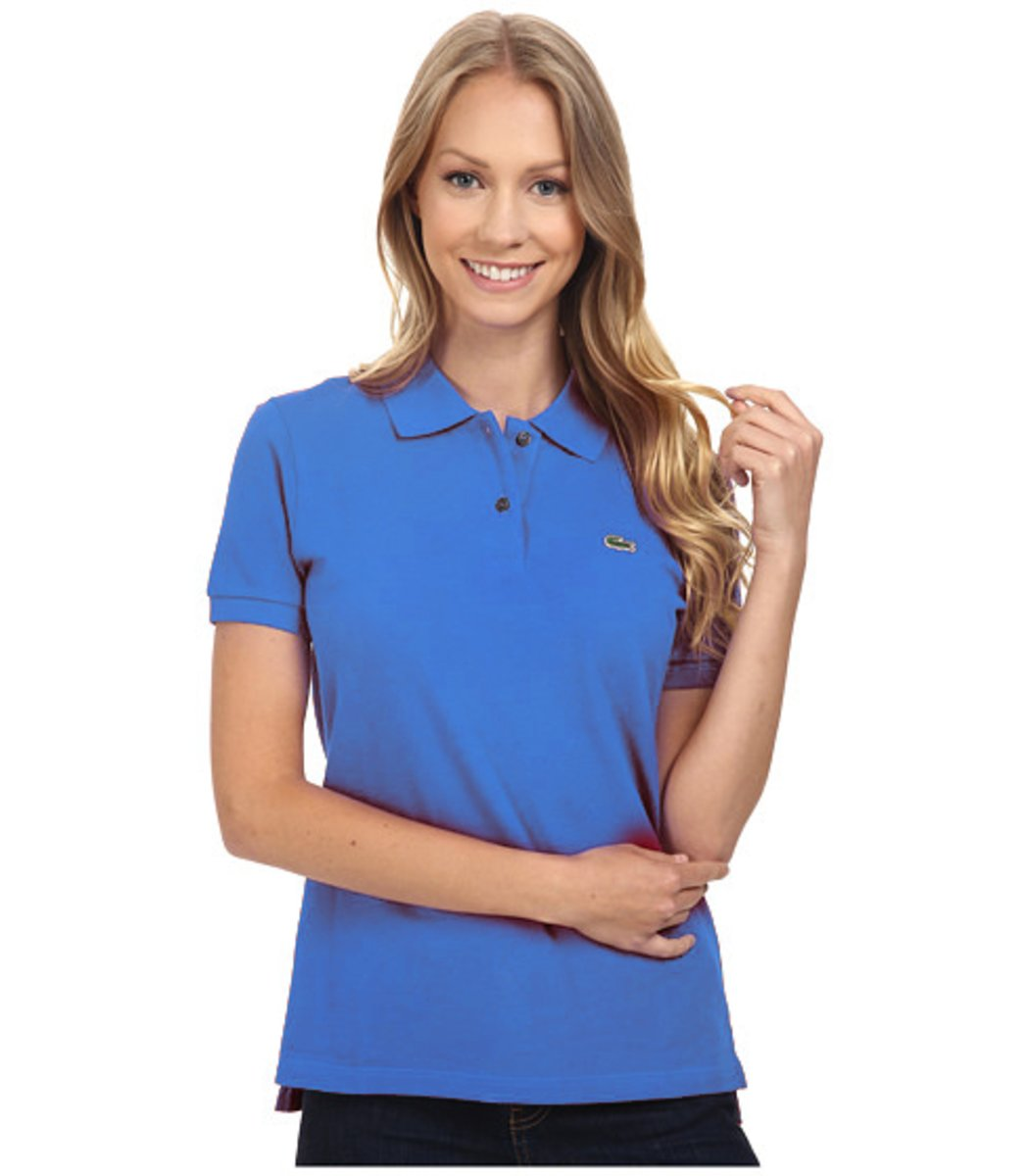 Женская голубая футболка поло Lacoste
