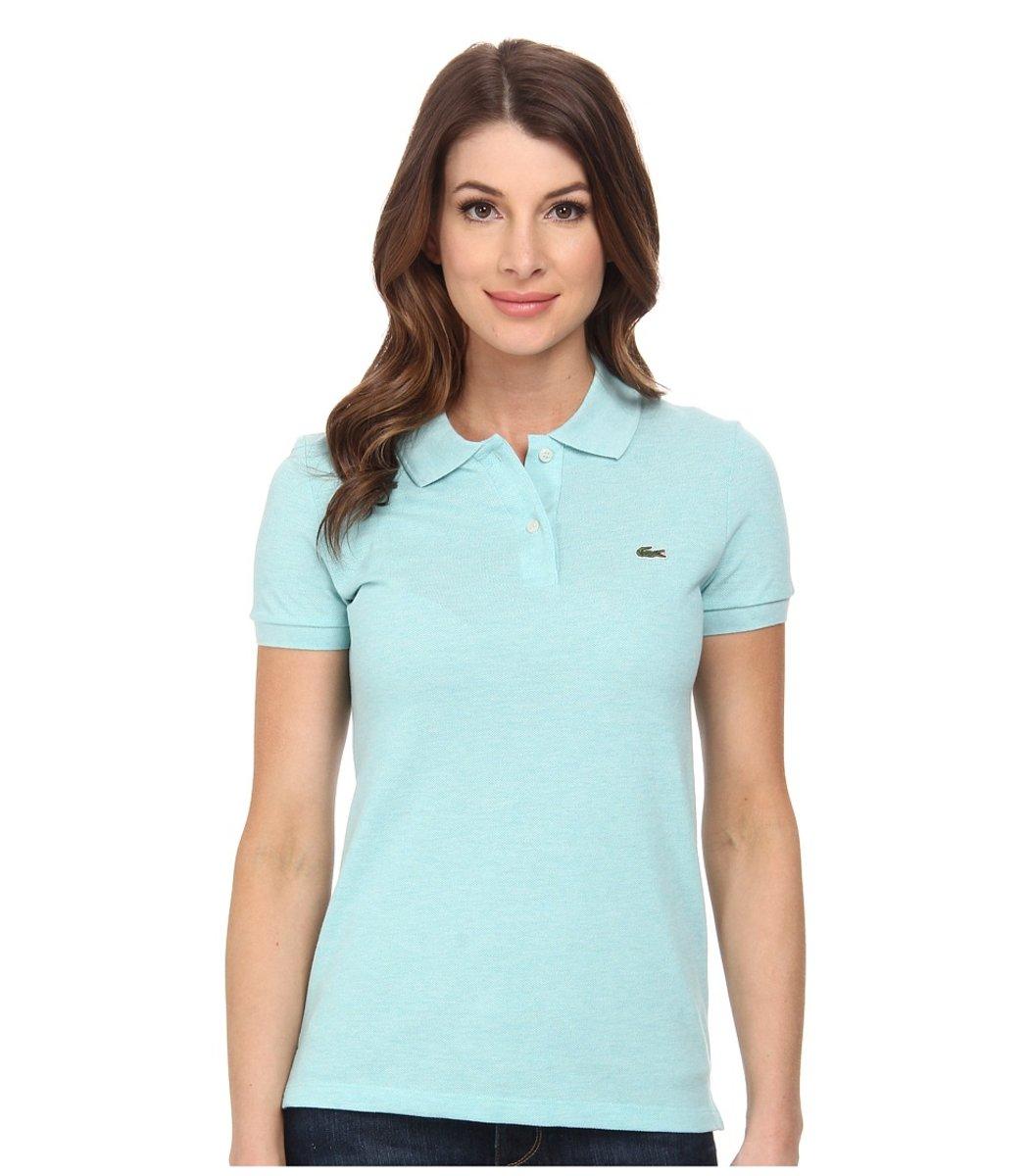 Женская светло-голубая футболка поло Lacoste - светло-голубой - Вид 1