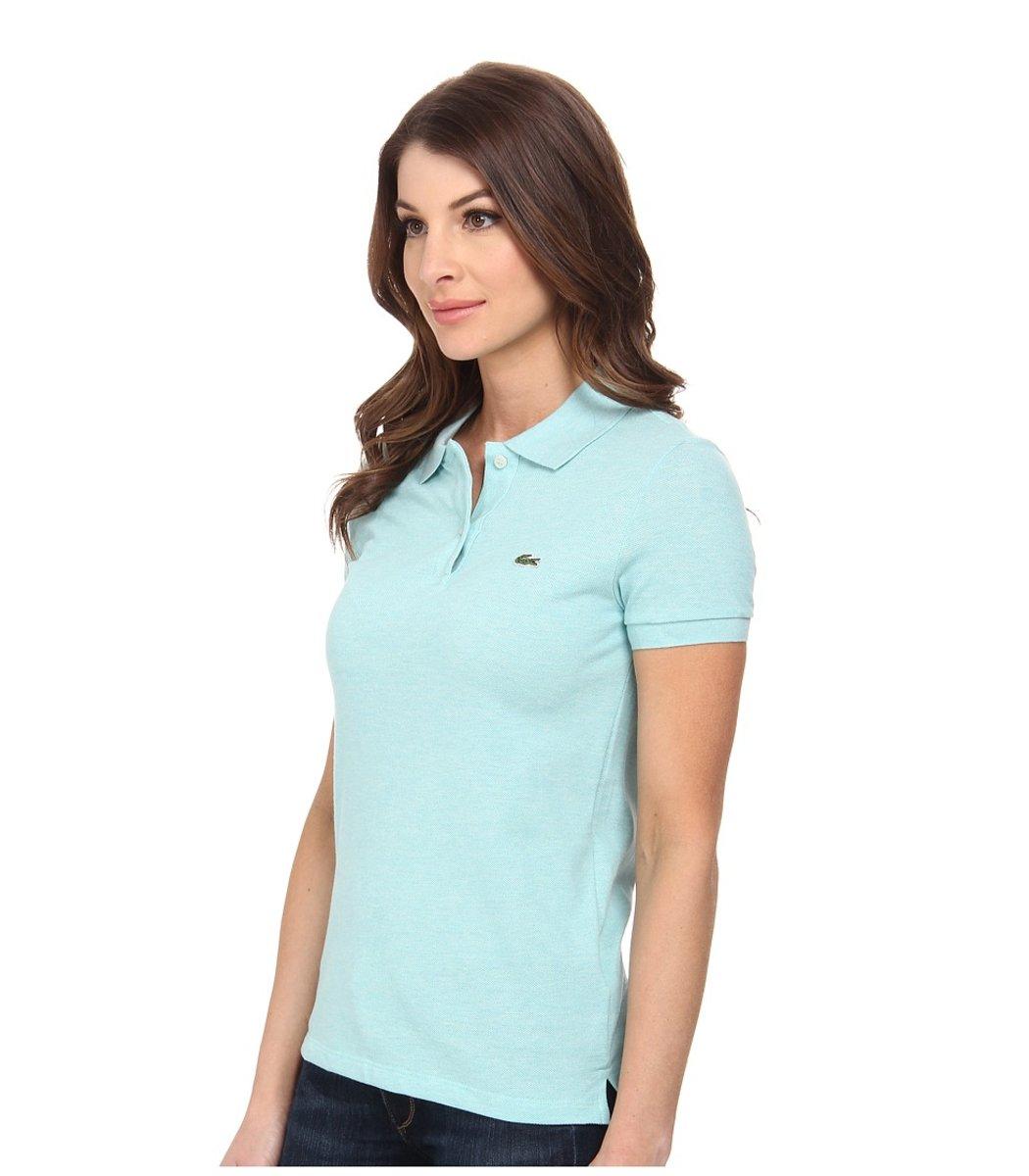 Женская светло-голубая футболка поло Lacoste - светло-голубой - Вид 3