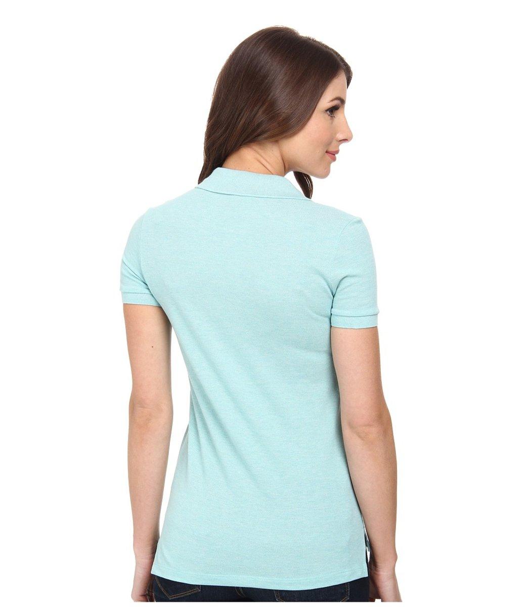 Женская светло-голубая футболка поло Lacoste - светло-голубой - Вид 2