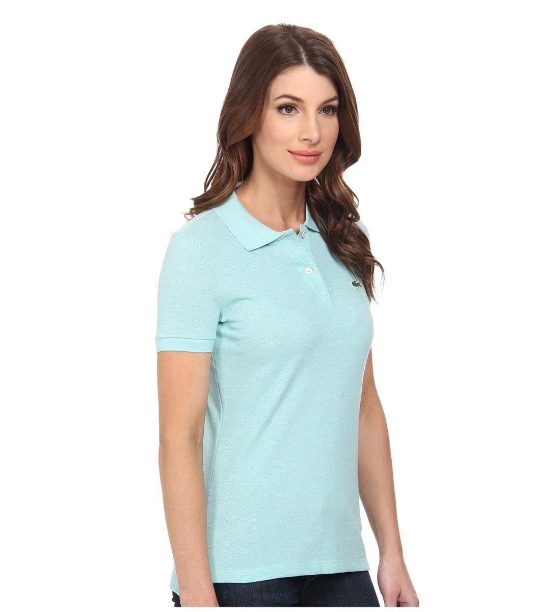 Женская светло-голубая футболка поло Lacoste - светло-голубой - Вид 4