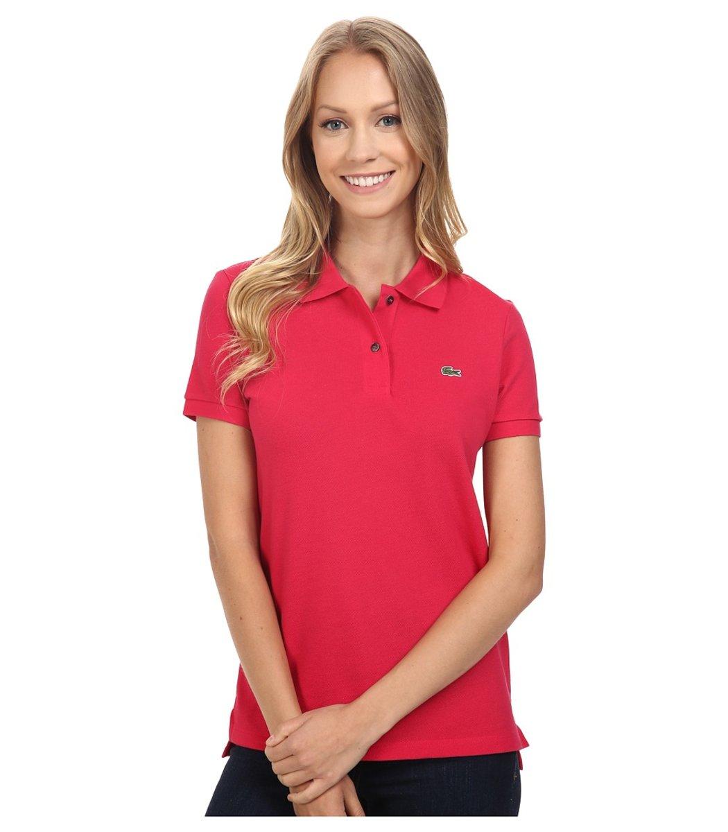 Женская красная футболка поло Lacoste - красный - Вид 1