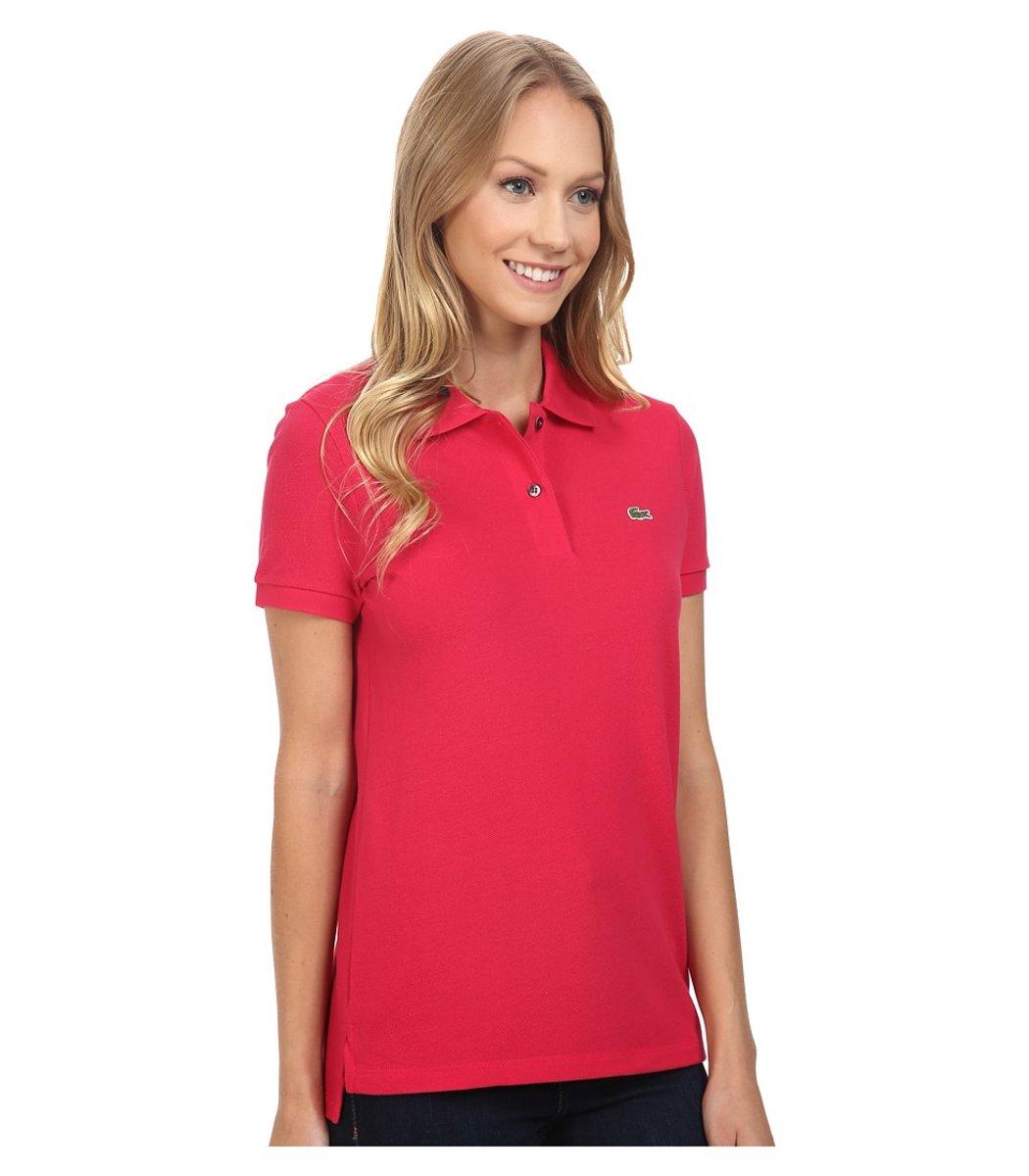 Женская красная футболка поло Lacoste - красный - Вид 3