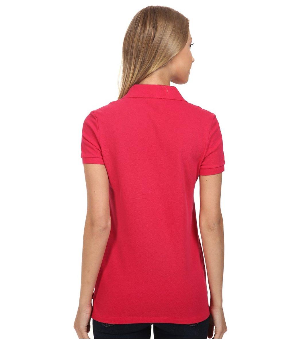 Женская красная футболка поло Lacoste - красный - Вид 2