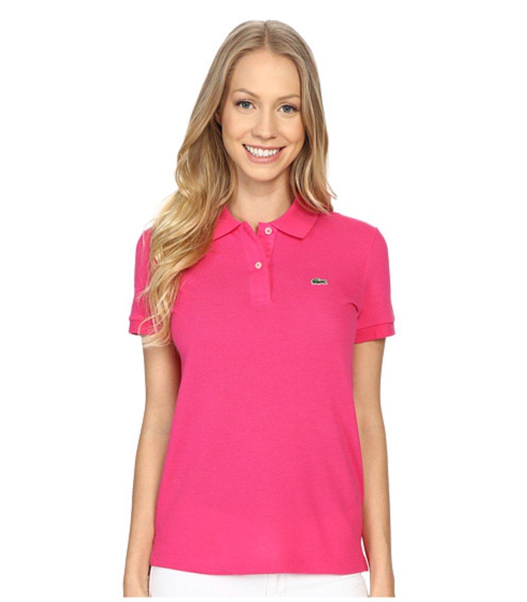 Женская розовая футболка поло Lacoste - розовый - Вид 1