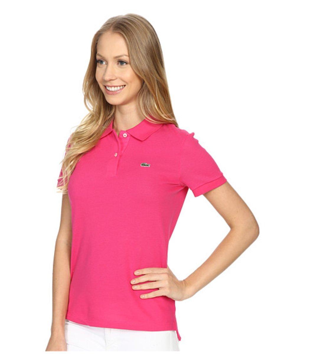 Женская розовая футболка поло Lacoste - розовый - Вид 3