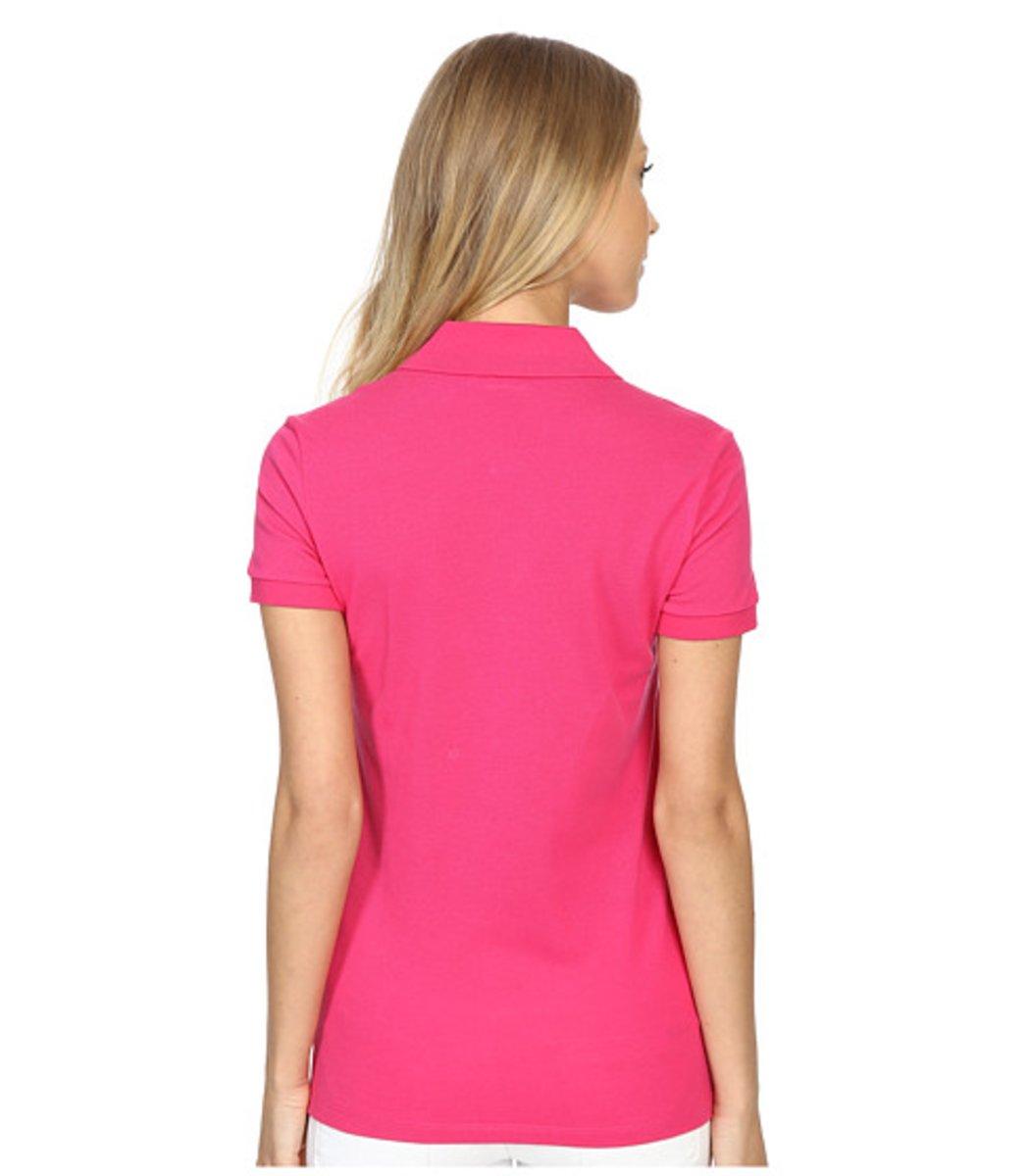 Женская розовая футболка поло Lacoste - розовый - Вид 2